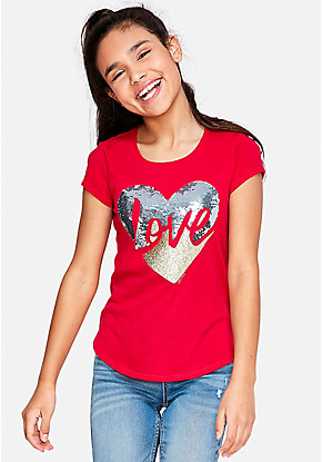 31c471952e3 Love Flip Sequin Graphic Tee