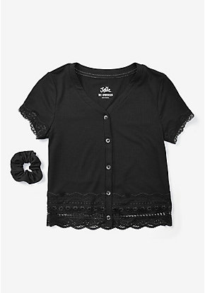 Ribbed Lace Trim Button Up Tee