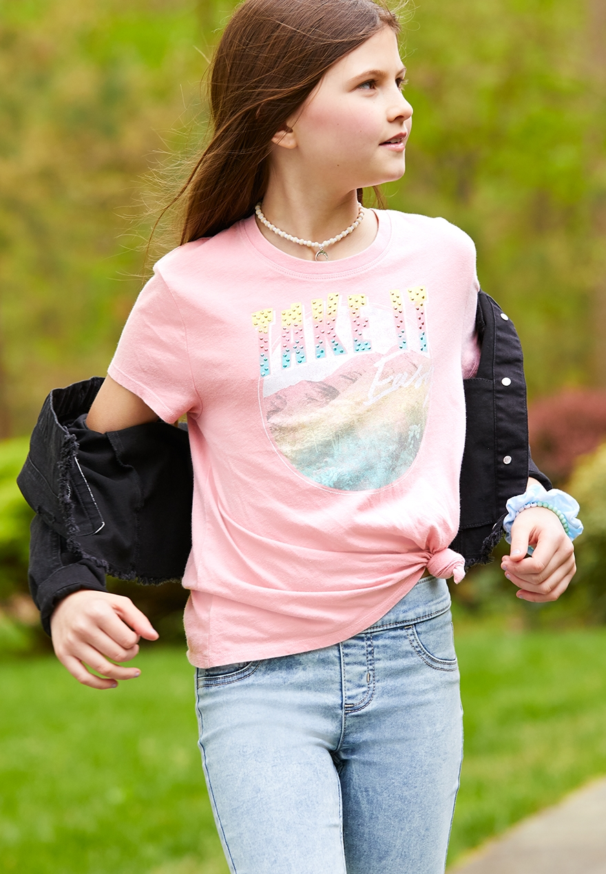 New Justice Girls Puppy Dog Graphic Tee Top 8 10 12 16 year Gray Short sleeves