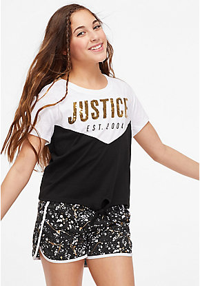 Logo Color Block Flip Sequin Tee