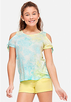 Dye Effect Knot Cold Shoulder Top