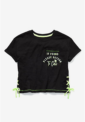 Glow in the Dark Lace Up Pocket Boxy Tee