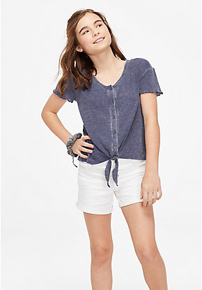 Tie Hem Button Up Top