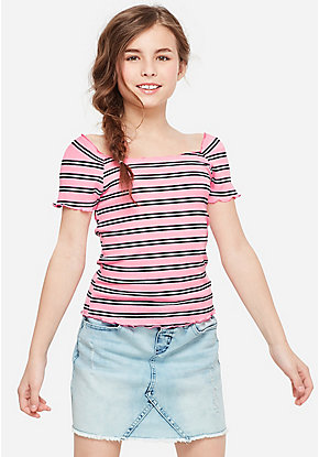 Stripe Fluted Hem Off Shoulder Top
