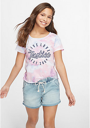 Tie Dye Patch Lettuce Edge Tee