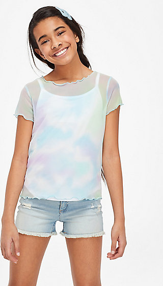 Dye Effect Mesh Layered Tee