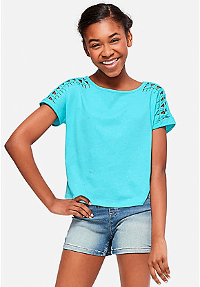 Braided Shoulder Sparkle Tee