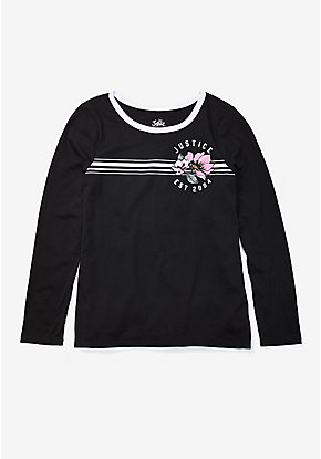 Graphic Long Sleeve Ringer Tee