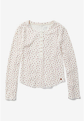 Floral Long Sleeve Henley