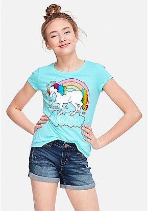 67c704cf4 Girls  Graphic Tee Shirts - Trendy