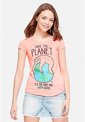 Save the Planet Sloth Graphic Tee
