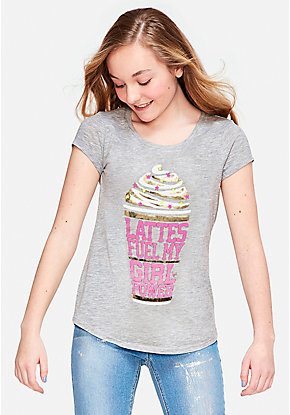 51ba18e8a5 Lattes Fuel My Girl Power Graphic Tee