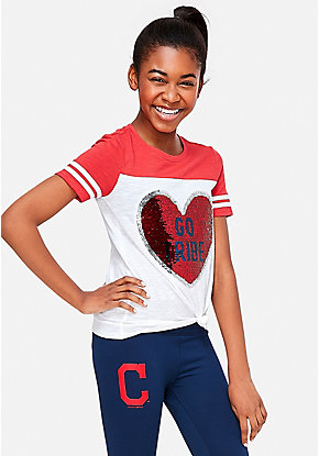 13644826a Cleveland Indians Flip Sequin Football Tee