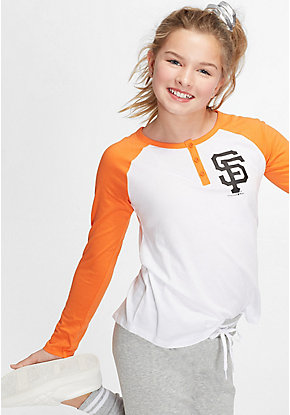 MLB Button Long Sleeve Raglan Tee