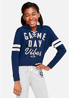 New York Yankees Game Day Vibes Lace Up Hoodie