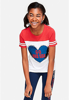 f5fd3b887 Boston Red Sox Flip Sequin Football Tee