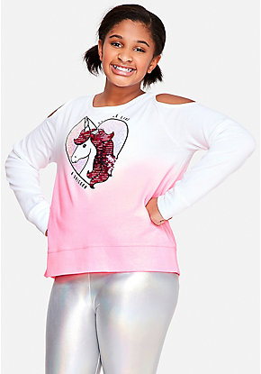 Cold Shoulder Ombre Flip Sequin Sweatshirt