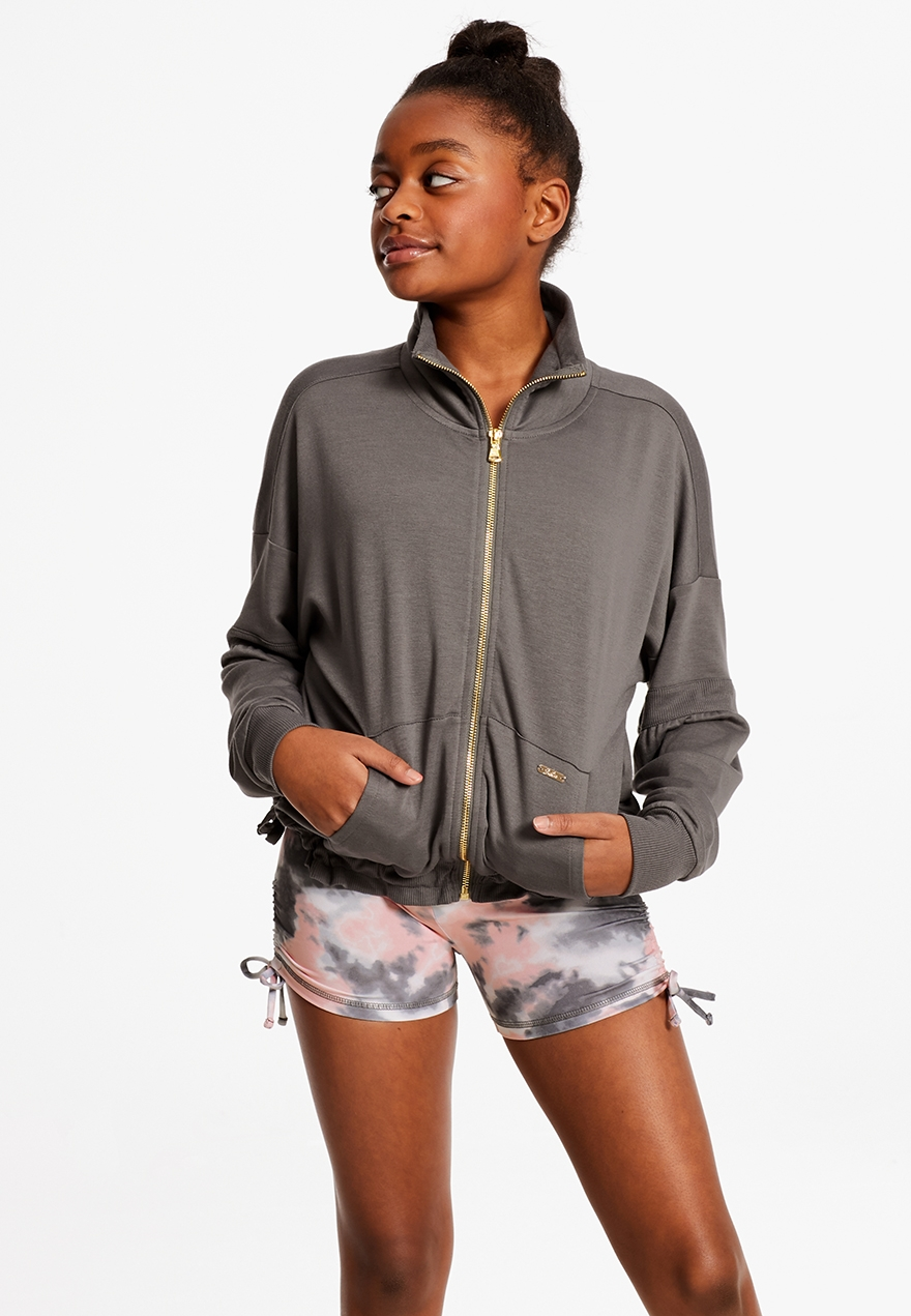 Tie Hem Zip Up Sweatshirt