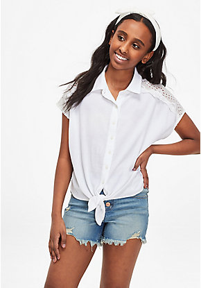 Eyelet Tie Hem Button Up Shirt