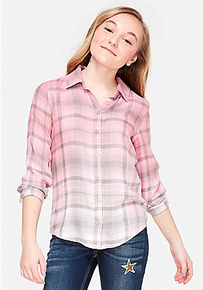 Ombre Plaid Lace Up Button Up