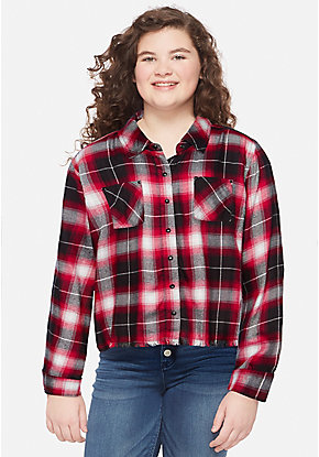 Plaid Cropped Button Up