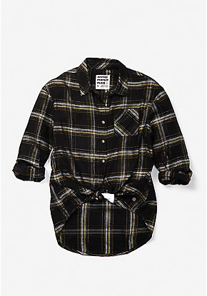 Perfect Plaid Tie Front Button Up