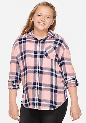 Flip Sequin Plaid Button Up Shirt