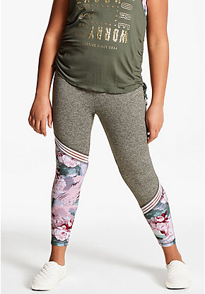 Floral Mesh Stripe Leggings