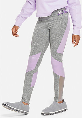 Mesh Color block Logo Leggings