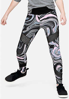 Pattern Mesh Stripe Leggings
