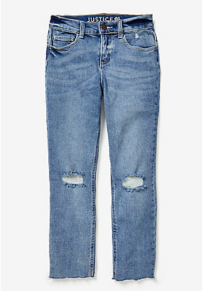 Destructed High Rise Ankle Jeans