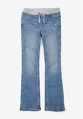 Destructed Knit Waist Bootcut Jeans