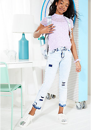 Acid Wash Destructed High Rise Ankle Jeans