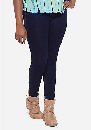 French Terry Pull On Jean Leggings