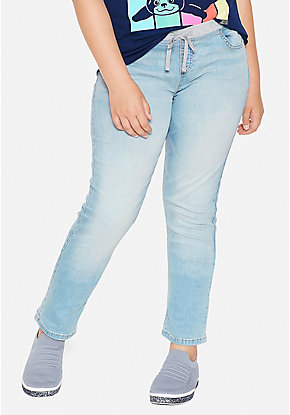 Knit Waist Straight Jeans