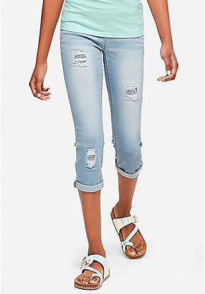 Glitter Destructed Pull On Crop Jean Leggings