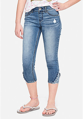 Destructed Lace Denim Crop Jeggings