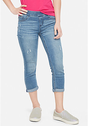 Destructed Pull On Denim Crop Jean Leggings