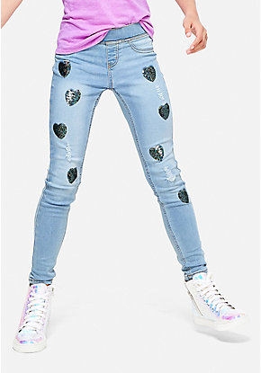 Heart Flip Sequin Pull On Jean Legging