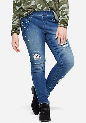 Pearl & Lace Destructed Pull On Jean Leggings