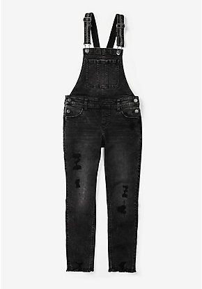 Black Destructed Overalls