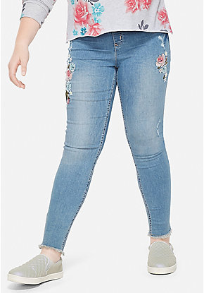 Embroidered Pull On Jean Leggings