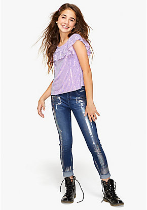 Metallic Shine Destructed Pull On Jean Leggings