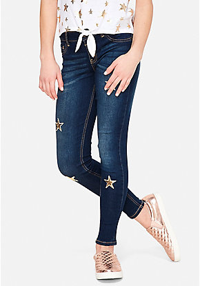 Flip Sequin Star Button Waist Jeggings