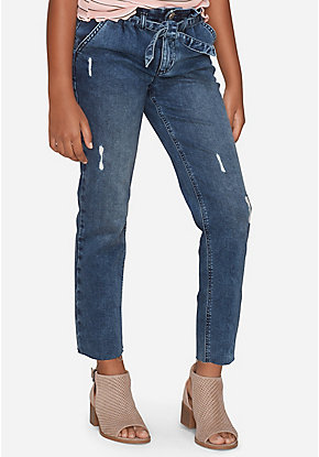 Belted High Rise Straight Ankle Jeans