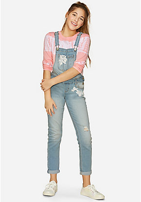 Lace Destructed Girlfriend Overalls