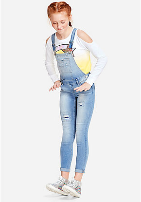 Destructed Super Skinny Overalls