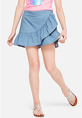 Chambray Ruffle Wrap Skirt