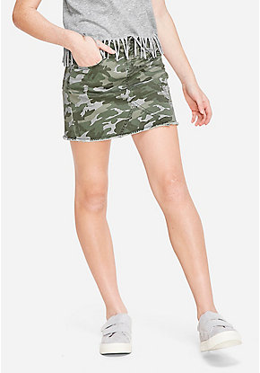 Camo Destructed Denim Skirt