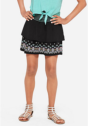 Embroidered Tiered Skirt